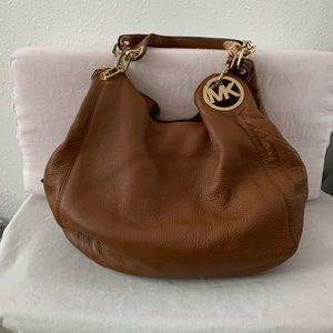 Michael Koa brown leather hobo bag